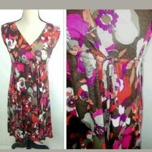 Old Navy Retro Theme Floral Dress Rayon Tie Waist